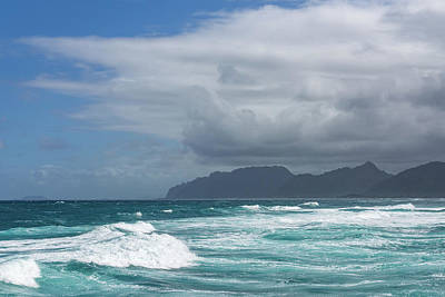 Photograph - Hawaiian Coastal Mountains - Rough Waters And Clearing Storm On Oahu North Shore by Georgia Mizuleva