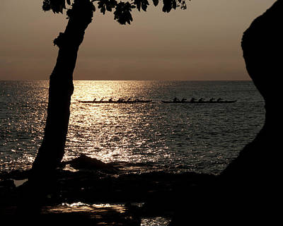 Photograph - Hawaiian Dugout Canoe Race At Sunset by Michael Bessler
