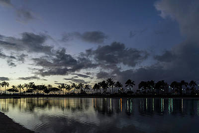 Photograph - Hawaiian Dusk - Jewel Tone Lights At Duke Kahanamoku Lagoon Waikiki  by Georgia Mizuleva