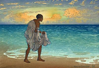 Photograph - Hawaiian Fisherman 1920 by Padre Art