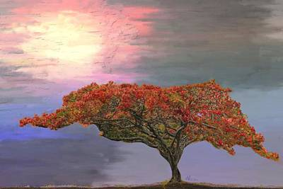 Painting - Hawaiian Flame Tree by Angela Stanton