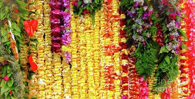 Art Print featuring the photograph Hawaiian Flower Lei's by D Davila