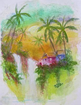 Hawaiian Homestead In The Valley #460 Art Print by Donald k Hall