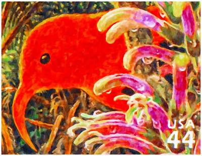 Tropical Stamps Painting - Hawaiian Honeycreeper by Lanjee Chee