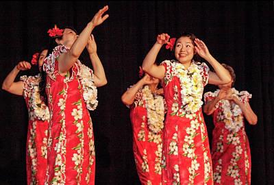 Hawaiian-hula Dancers In Red Dresses Original by Arthur Babiarz