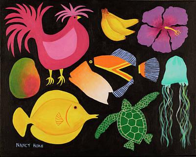 Humuhumu Painting - Hawaiian Icons by Nancy Hoke
