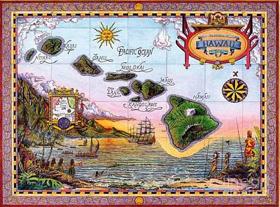 Painting - Hawaiian Islands Pictorial Map by Pg Reproductions