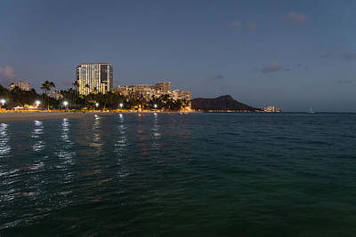 Photograph - Hawaiian Lights - Waikiki Beach And Diamond Head Volcano Crater by Georgia Mizuleva