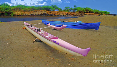 Photograph - Hawaiian Outigger Canoes Ver 1 by Larry Mulvehill