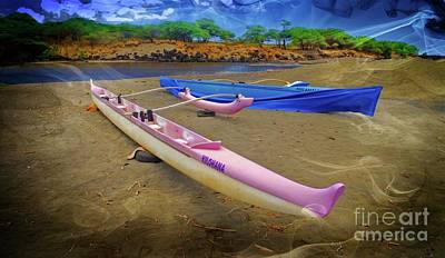 Photograph - Hawaiian Outigger Canoes Ver 2 by Larry Mulvehill