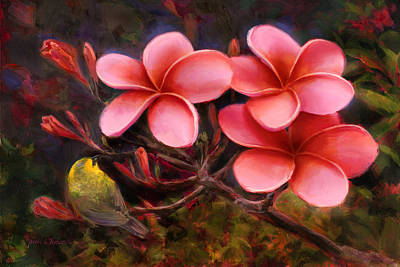 Hawaiian Flower Painting - Hawaiian Pink Plumeria And Amakihi Bird by Karen Whitworth