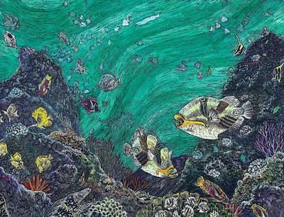 Triggerfish Painting - Hawaiian Reef Lagoon Triggerfish by Cynthia Conklin