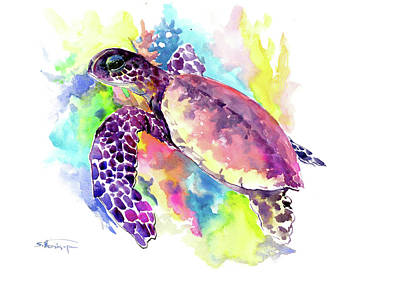 Painting - Hawaiian Sea Turtle In Coral Reef by Suren Nersisyan