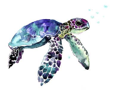 Painting - Hawaiian Sea Turtle by Suren Nersisyan