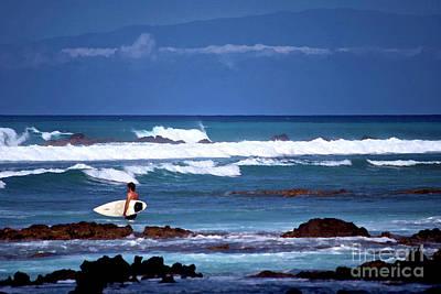 Hawaiian Seascape With Surfer Art Print