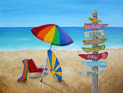 Niihau Hawaii Painting - Hawaiian Sign Posts To Paradise by Pamela Allegretto