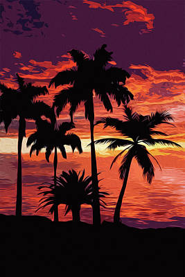 Painting - Hawaiian Sunset by Andrea Mazzocchetti