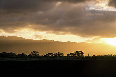 Photograph - Hawaiian Sunset - Golden Glow Behind Waianae Mountain Range by Georgia Mizuleva