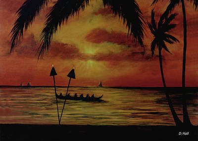 Hawaiian Sunset Paddlers #283 Art Print by Donald k Hall