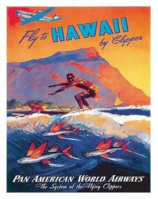 Hawaiian Surfer And Flying Fish Vintage World Travel Poster By Mark Von Arenburg Art Print by Retro Graphics