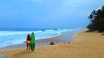 Hawaiian Surfer Girl Original by Michael Rucker