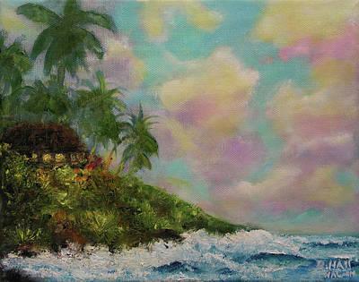 Hawaiian  Twilight Beach Wave Art Print Painting #423 Art Print by Donald k Hall