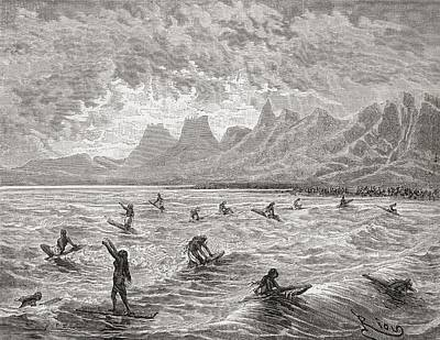 Surfing Drawing - Hawaiians Surfing In The 19th Century by Vintage Design Pics