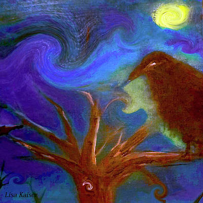 Digital Art - Hawk Eye Halloween Crow Painting By Lisa Kaiser by Lisa Kaiser
