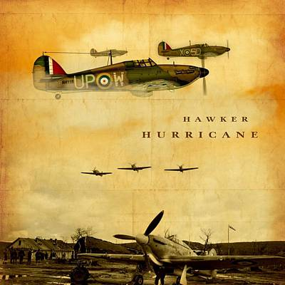 Digital Art - Hawker Hurricane Raf by John Wills