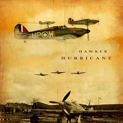 Art Print featuring the digital art Hawker Hurricane Raf by John Wills