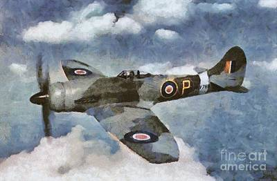 Plane Painting - Hawker Tempest by Mary Bassett