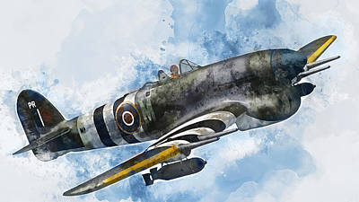 Painting - Hawker Typhoon - 02 by Andrea Mazzocchetti