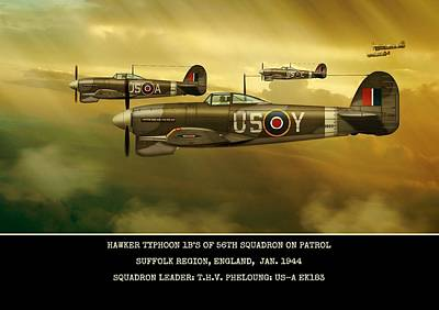 Art Print featuring the digital art Hawker Typhoon Sqn 56 by John Wills