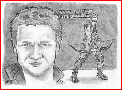 Drawing - Hawkeye by Chris  DelVecchio