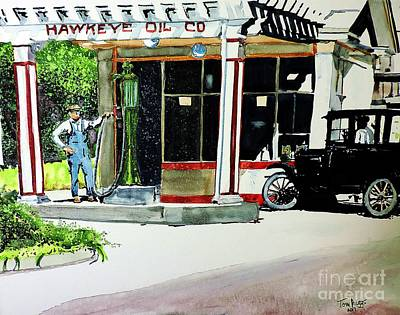 Painting - Hawkeye Oil Co by Tom Riggs
