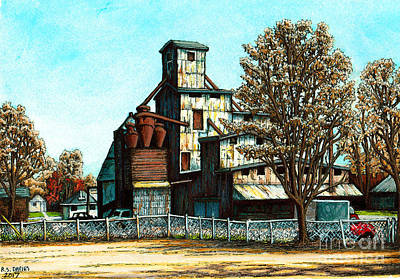 Feed Mill Mixed Media - Hawkins Feed Mill by Robert Davies