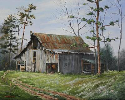 Painting - Hawks At The Barn by Judy Bradley