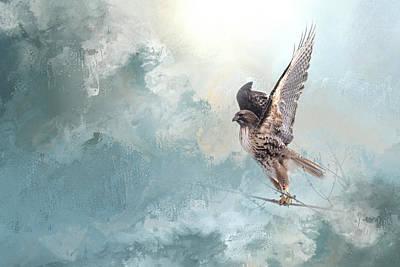 Soaring Mixed Media - Hawk's Morning Flight by K Powers Photography
