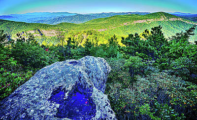 Firefighter Patents - Hawksbill Mountain at Linville gorge with Table Rock Mountain la by Alex Grichenko