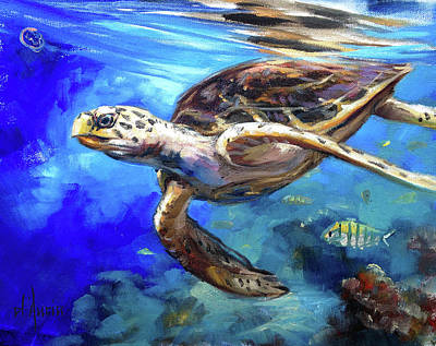 Seaturtle Painting - Hawksbill by Tom Dauria