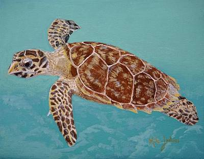 Painting - Hawksbill Turtle Study by Mike Jenkins
