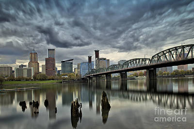 Grey Clouds Photograph - Hawthorne Bridge Across The Willamette Portland Oregon  by Peter Dang