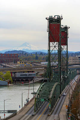 Photograph - Hawthorne Bridge And Mount Hood View by Jit Lim