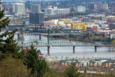 Photograph - Hawthorne Bridge Over Willamette River by Jit Lim
