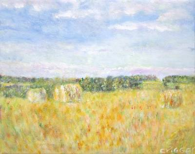 Painting - Hay And Bales In The Countryside by Glenda Crigger