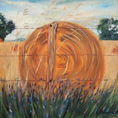 Hay Bale With Wildflowers Original