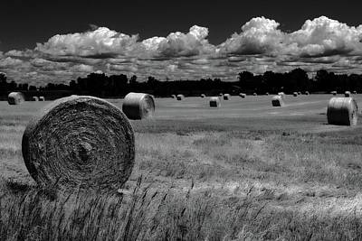 Photograph - Hay Bales And Clouds by Michelle Calkins