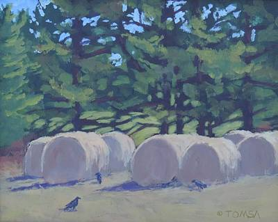 Painting - Hay Bales And Crows by Bill Tomsa