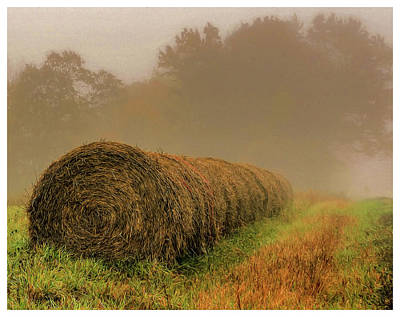 Photograph - Hay Bales And Fog by Trey Foerster