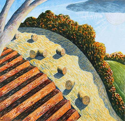 Bales Mixed Media - Hay Bales And Hillside by Adrian Jones